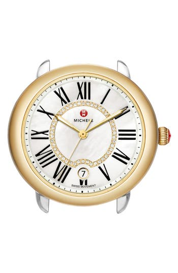 Women's Michele Serein 16 Diamond Dial Two-Tone Round Watch Head, 34Mm X 36Mm