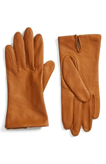 Women's Fownes Brothers Short Leather Gloves, Size Small - Beige
