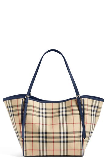 Burberry Small Canter Horseferry Check Tote - Beige In Honey  Brilliant Navy ebcf31bd60