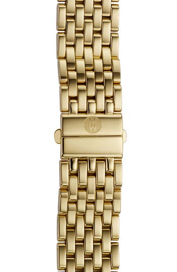 Women's Michele Deco 16 16Mm Gold Plated Bracelet Watchband