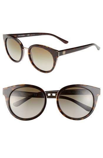 Women's Tory Burch 'Phantos' 53Mm Retro Sunglasses - Tortoise