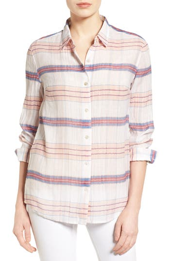 Women's Tommy Bahama Costas Stripe Cotton & Silk Shirt