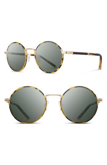Shwood Hawthorne 50Mm Acetate Sunglasses - Tortoise/ Matte Gold/ G15