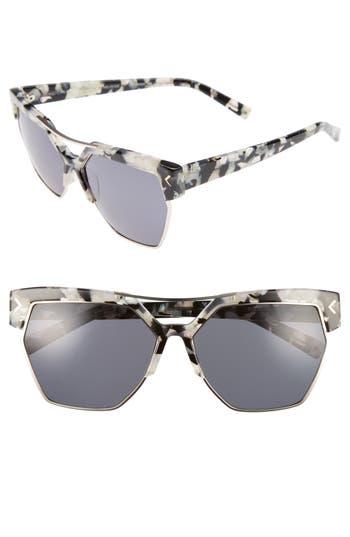 Women's Kendall + Kylie 55Mm Retro Sunglasses - Crystal Black/ White/ Gold