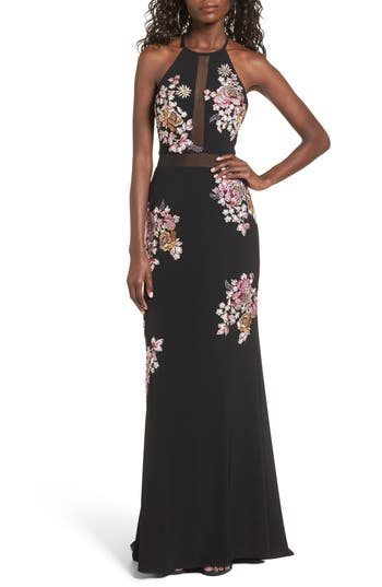 Petite Women's Xscape Embellished Floral Halter Gown