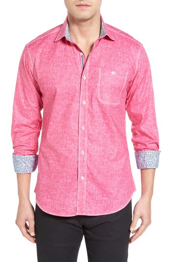 Men's Bugatchi Shaped Fit Solid Sport Shirt, Size Large - Purple