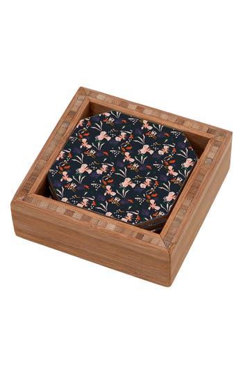 Deny Designs Garden Set Of 4 Coasters, x4 - Black