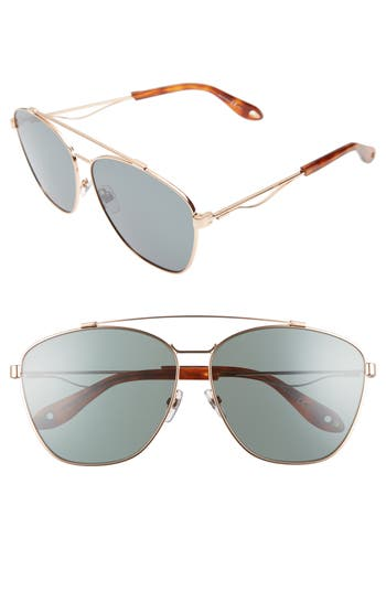 Givenchy 65Mm Round Aviator Sunglasses - Gold Copper