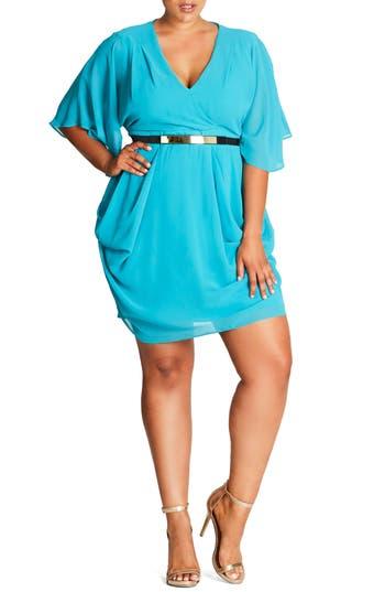 Plus Size Women's City Chic Belted Chiffon Faux Wrap Dress