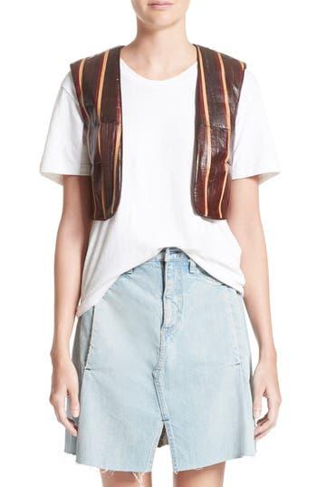 Women's Simon Miller Striped Genuine Eelskin Vest