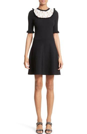 Women's Red Valentino Lace Trim Rib Knit Dress, Size Small - Black