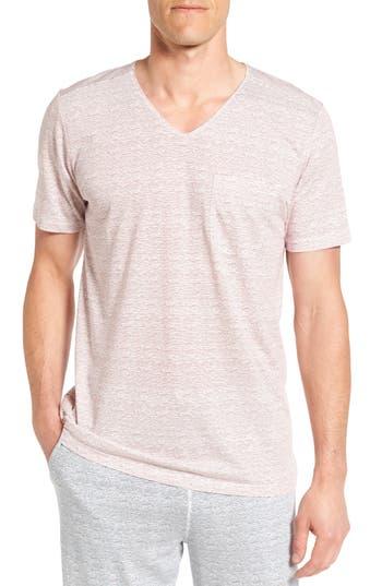 Men's Daniel Buchler Feeder Stripe Pima Cotton & Modal V-Neck T-Shirt