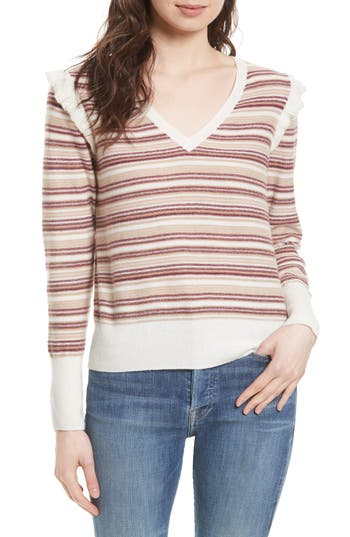 Women's Joie Cais D Stripe Wool Blend Sweater, Size X-Small - White
