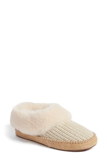 Ugg Wrin Rib-Knit & Genuine Shearling Slipper
