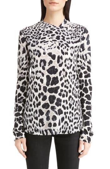 Women's Saint Laurent Logo & Leopard Print Silk Crêpe De Chine Blouse