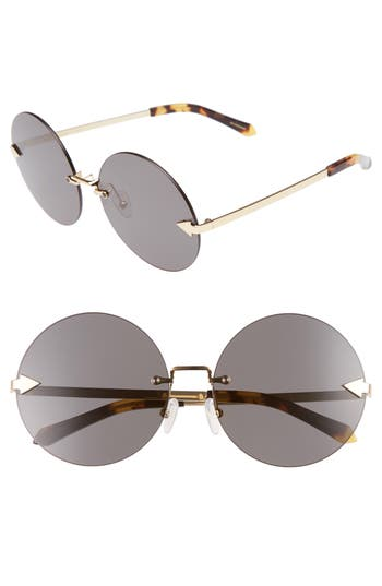 Women's Karen Walker Disco Circus 60Mm Rimless Round Sunglasses - Crazy Tortoise/ Gold