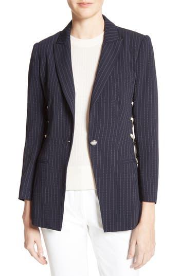Women's Veronica Beard Taylor Lace-Up Pinstripe Blazer