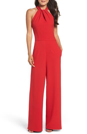 1960s – 70s Cocktail, Party, Prom, Evening Dresses Womens Julia Jordan Halter Neck Jumpsuit Size 16 - Red $158.00 AT vintagedancer.com