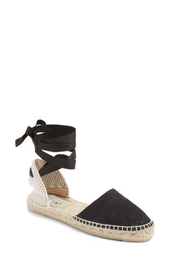 Women's Manebi Paris Lace-Up Espadrille Sandal, Size 35 EU - Black