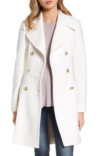 Petite Women's Guess Double Breasted Wool Blend Coat