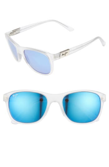 Men's Maui Jim Wakea 55Mm Polarized Sunglasses - Frosted Crystal/ Blue Hawaii