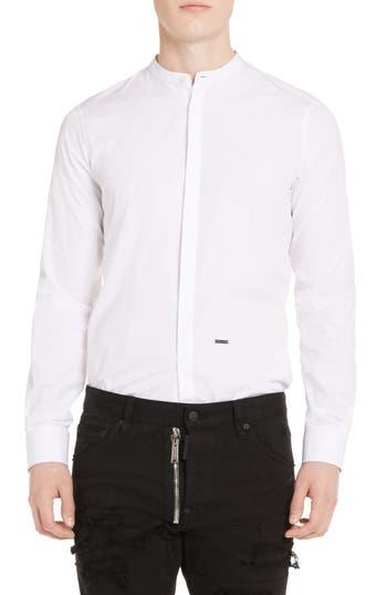 Men's Dsquared2 Band Collar Poplin Shirt