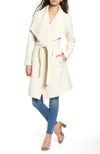 Women's Bb Dakota Issac Ribbed Blanket Coat, Size Medium - White