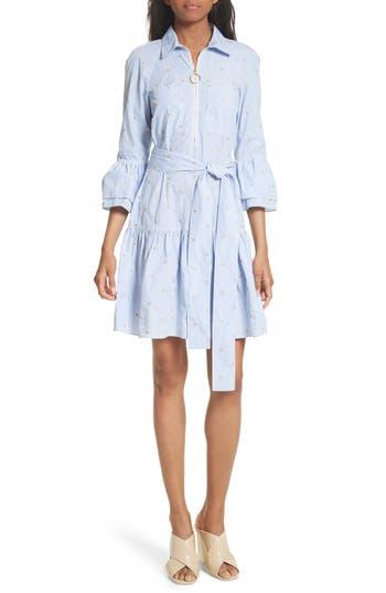 Women's Derek Lam 10 Crosby Star Embroidered Pinstripe Shirtdress