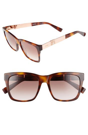 Women's Max Mara Stone 54Mm Gradient Sunglasses - Havana/ Red/ Gold