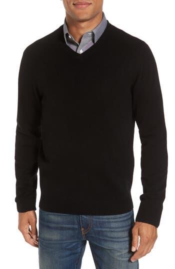 Nordstrom Shop Cashmere V-Neck Sweater, Black