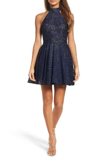 Women's La Femme Lace Halter Style Dress