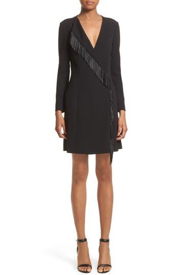 Women's Alexander Wang Leather Fringe Wrap Dress, Size 0 - Black