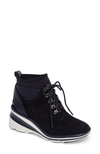 Jambu Offbeat Perforated Wedge Sneaker- Blue