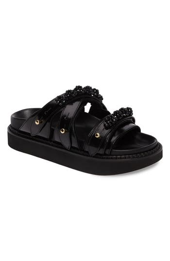 Women's Simone Rocha Beaded Leather Slide Sandal, Size 6US / 36EU - Black