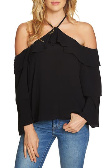 Women's 1.state Ruffle Cold Shoulder Blouse