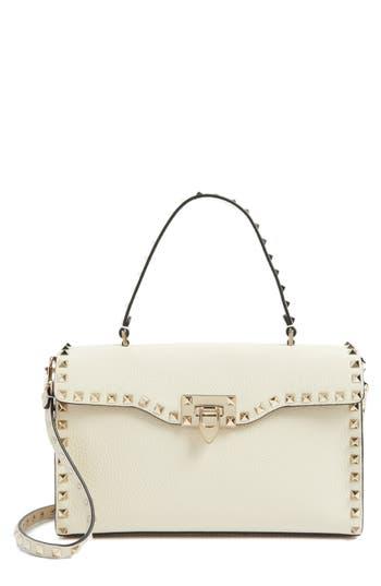 Valentino Garavani Rockstud Leather Top Handle Shoulder Bag - White