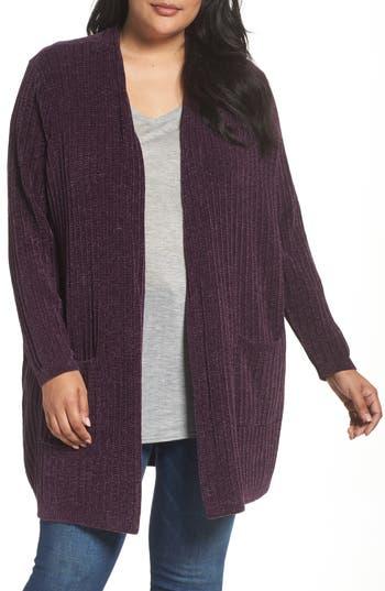 Plus Size Women's Sejour Ribbed Chenille Cardigan
