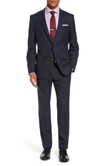Men's Boss Huge/genius Trim Fit Plaid Wool Suit