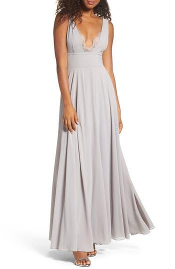 Women's Lulus Lace Trim Chiffon Maxi Dress, Size X-Small - Grey