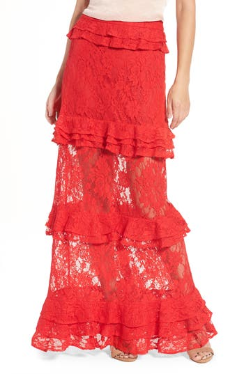 Women's Afrm Otis Ruffle Maxi Skirt