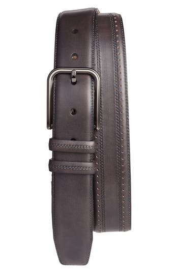 Mezlan Naxos Leather Belt, Graphite