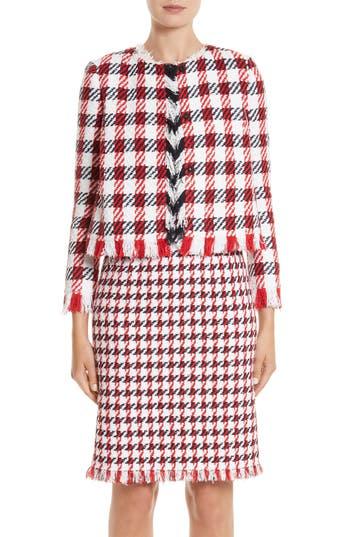 Women's Oscar De La Renta Houndstooth Tweed Jacket