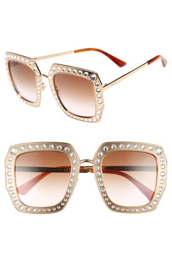 Women's Gucci 52Mm Square Sunglasses - Gold/ Brown