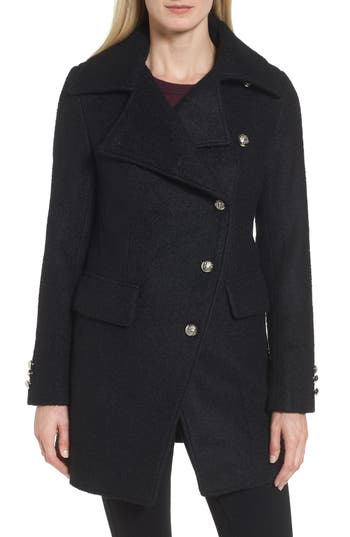 Women's Laundry By Shelli Segal Boucle Military Coat, Size X-Small - Black