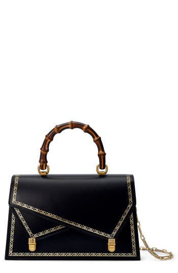 Linea P Border Leather Double Flap Top Handle Satchel - Black, Nero
