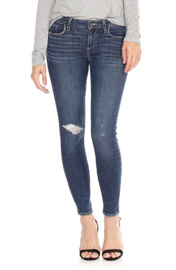 Women's Paige Verdugo Ripped Ankle Skinny Jeans