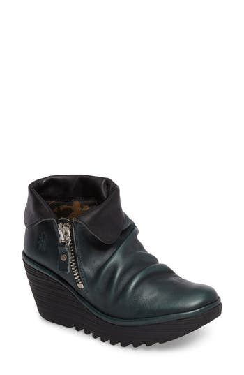 Fly London Yoxi Wedge Bootie, Green