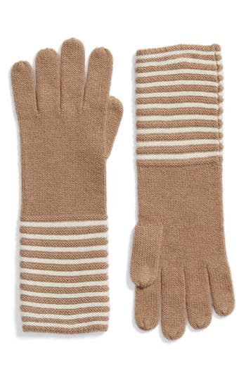 Women's Michael Michael Kors Double Links Wool & Cashmere Gloves, Size One Size - Brown