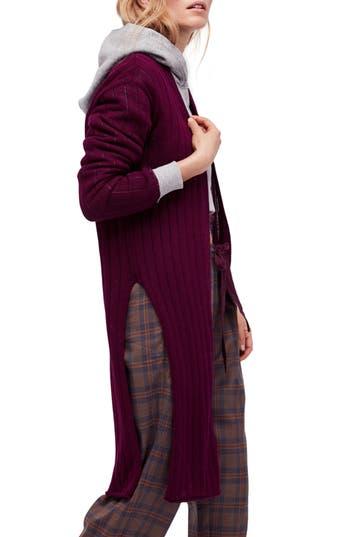 Women's Free People Ribby Long Cardigan, Size Large - Burgundy