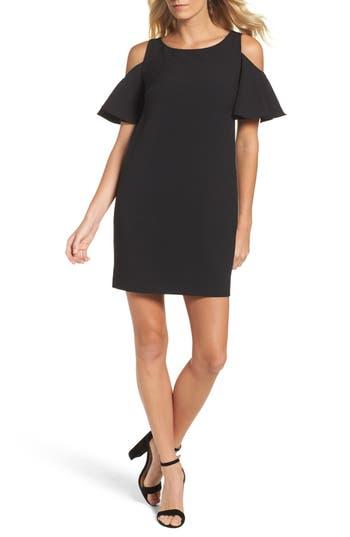 Women's Chetta B Ruffle Cold Shoulder Shift Dress